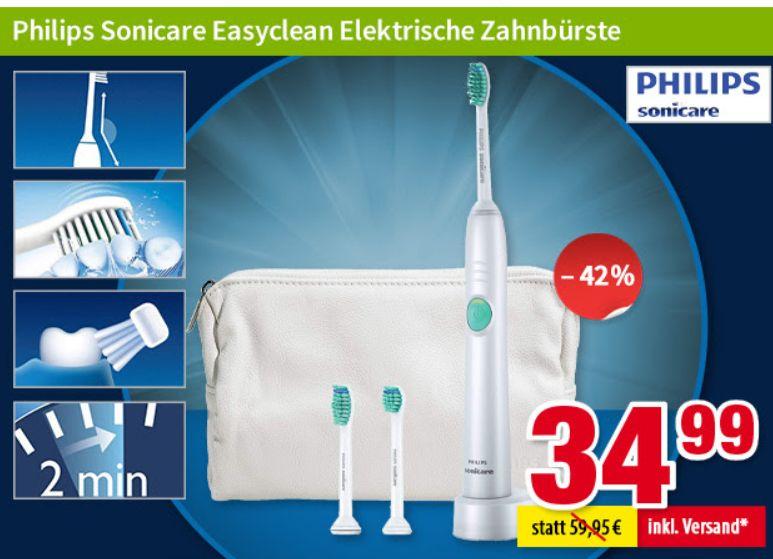 Völkner: Ultraschallzahnbürste Sonicare Easyclean HX6511/33 für 34,99 Euro