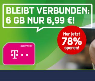 Telekom: Datenflat mit 6 GByte inklusive Telefonflat für 6,99 Euro