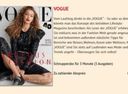 """Gratis: Drei Ausgaben """"Vogue"""" zum Nulltarif frei Haus"""