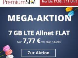 Premiumsim: 7 GByte LTE mit 50 MBit & Allnet-Flat für 7,77 Euro