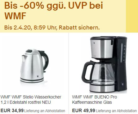 WMF: Sale bei Ebay mit Artikeln ab 7 Euro frei Haus