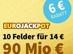 Euro-Jackpot: Um Rekordsumme von 90 Millionen Euro mit 6 Euro Rabatt mitspielen
