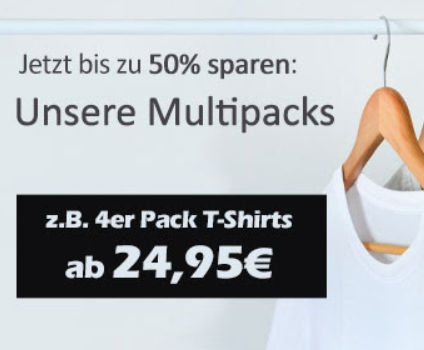 Jeans Direct: Viererpack Marken-T-Shirts ab 24,95 Euro
