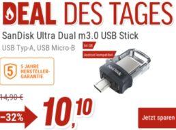 """NBB: """"SanDisk Ultra Dual m3.0"""" mit 64 GByte für 10,10 Euro"""