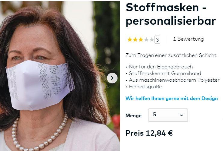 Knaller: Individuelle Stoffmasken im Fünferpack für 12,84 Euro (Bild: Vistaprint)