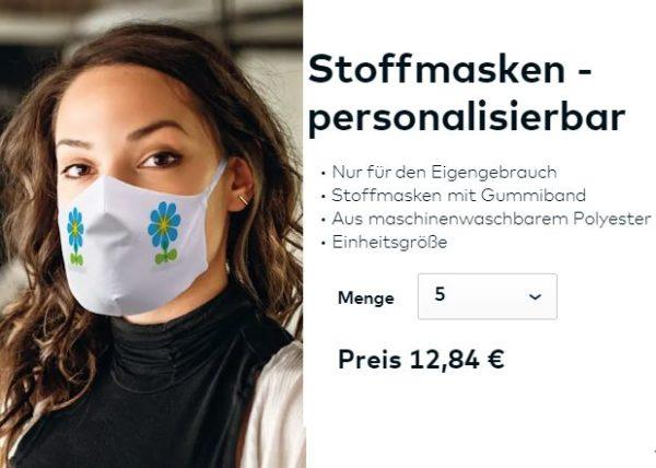 Knaller: Individuelle Stoffmasken im Fünferpack für 12,84 Euro