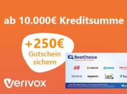 Knaller: 250 Euro Gutschein für Kredit, effektiver Gewinn von bis zu 157 Euro