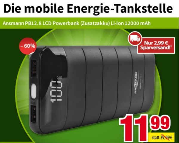 Völkner: Powerbank Ansmann PB12.8 mit 12.000 mAh für 14,98 Euro