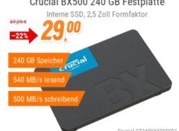 """NBB: """"Crucial BX500"""" mit 240 GByte für 29 Euro plus Versand"""