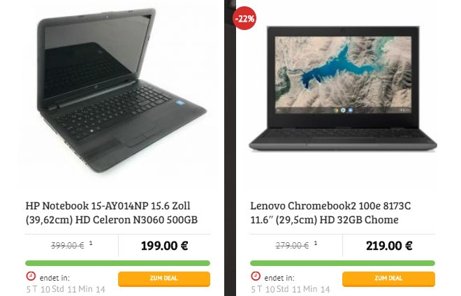 Dealclub: Notebook-Spezial mit mobilen Rechnern ab 199 Euro
