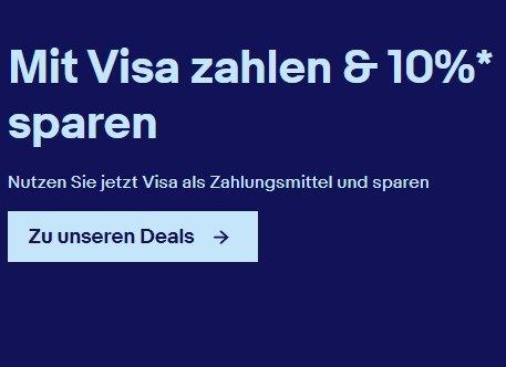 Ebay: 10 Prozent Rabatt bei Zahlung mit Visa
