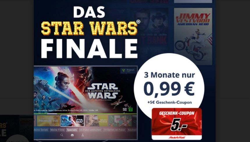 Freenet Video: 3 Monate für 99 Cent mit Mediamarkt-Gutschein über 5 Euro