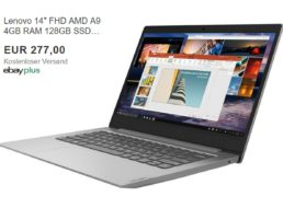 Ebay: Lüfterloses Lenovo IdeaPad mit 128 GByte SSD für 277 Euro