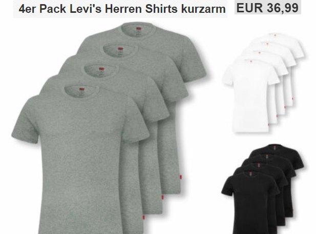 Levi's: T-Shirts im Viererpack für 36,99 Euro frei Haus bei Ebay