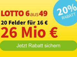 Lotto: 20 Felder für 16 Euro beim 26-Millionen-Jackpot