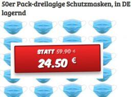 Knaller: 50er-Pack dreilagige Schutzmasken für 24,50 Euro plus Versand