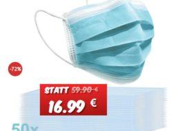 Knaller: 50er-Packung Atemschutzmasken für 16,99 Euro frei Haus