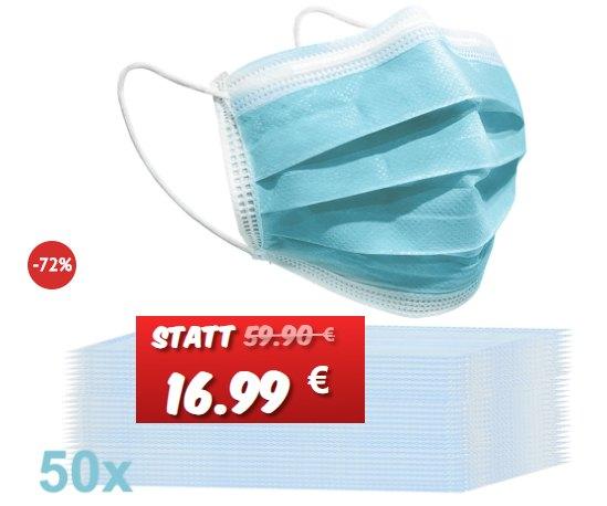 Knaller: 50er-Packung Masken für 16,99 Euro frei Haus
