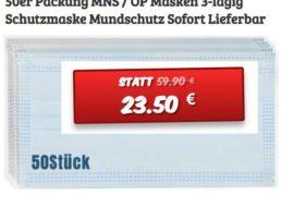 Dealclub: 50er-Pack Mundschutzmasken für 23,50 Euro plus Versand