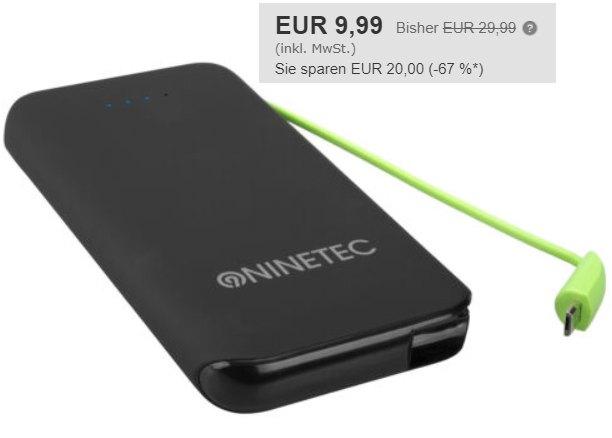Ebay: Powerbank Ninetec N-610 mit 10.000 mAh für 9,99 Euro