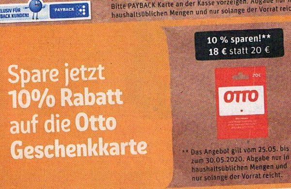 Rewe: Otto-Geschenkekarte mit 10 Prozent Rabatt für 18 Euro