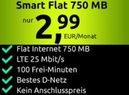 Knaller: 750 MByte Daten und 100 Freiminuten im D-Netz für 2,91 / 2,99 Euro