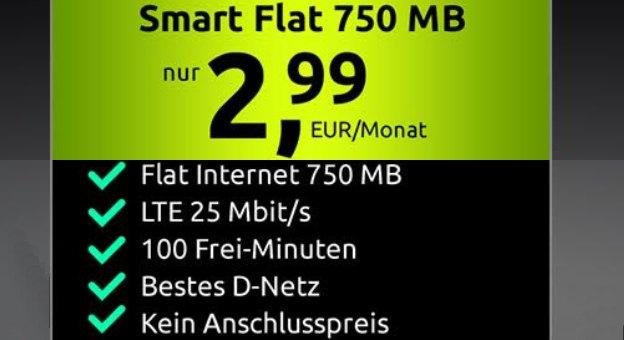 Knaller: 750 MByte Daten und 100 Freiminuten im D-Netz für 2,99 Euro