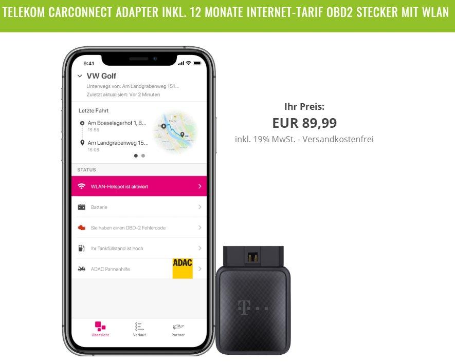 Wieder da: Telekom CarConnect Adapter mit 5 GByte LTE für 79,99 Euro