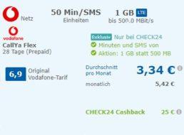 """Check24: """"Callya Flex"""" (monatlich kündbar) für 4,99 Euro mit 50 Euro Cashback"""