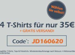 Jeans Direct: Vier T-Shirts nach Wahl für 35 Euro frei Haus