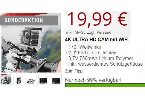Druckerzubehoer: 4K-Actioncam für 19,99 Euro plus Versand