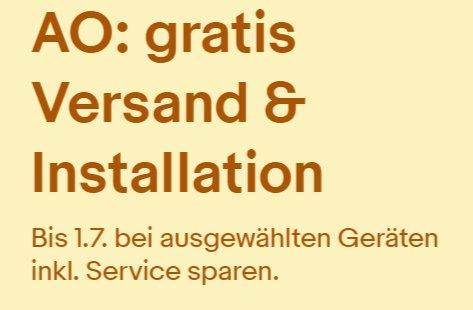 Ebay: Gratis-Lieferung und Installation von augewählten AO-Geräten