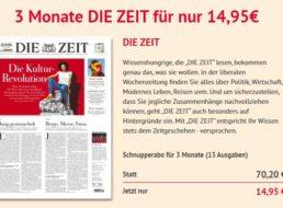 Die Zeit: 13 Ausgaben für zusammen 14,95 Euro frei Haus