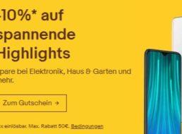 Ebay: 10 Prozent Rabatt auf über 1300 Technik-Artikel