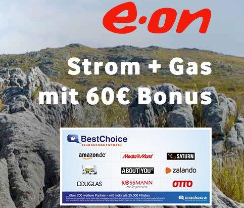 Gratis: Gutschein über 60 Euro zum neuen Strom- oder Gasvertrag von E.ON
