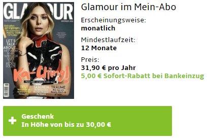 Glamour: Jahresabo für 26,90 Euro mit Gutschein über 30 Euro