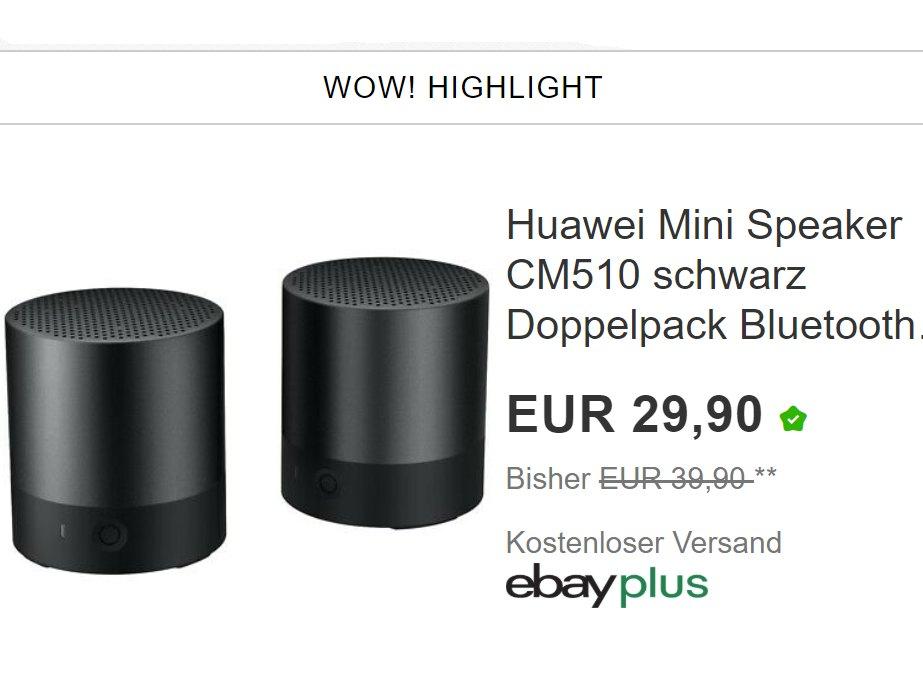 "Ebay: ""Huawei Mini Speaker CM510"" im Doppelpack für 29,90 Euro"