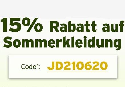 Jeans Direct: 15 Prozent Rabatt auf Sommerkleidung