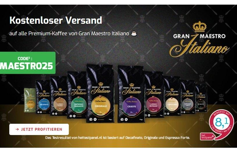 """Kaffeevorteil: Gratis-Versand für """"Gran Maestro Italiano Kaffeebohnen"""""""