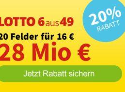 Zwangsausschüttung: 20 Lottofelder mit 4 Euro Rabatt spielen