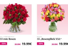 Blumeideal: 33 rote Rosen für 24,98 Euro mit Versand