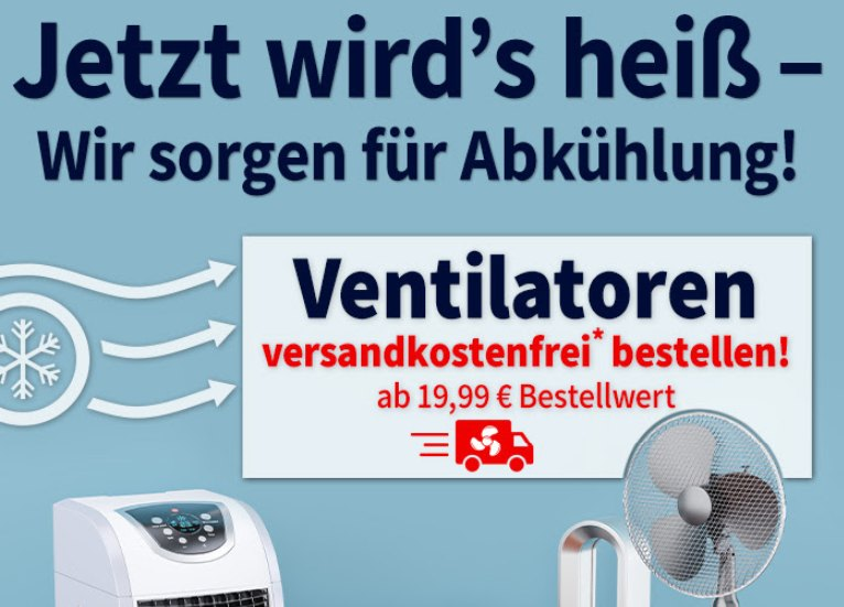 Völkner: Gratis-Versand auf Ventilatoren ab 19,99 Euro