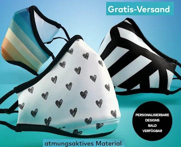 Vistaprint: Atmungsaktive Masken mit Ersatzfilter für 18 Euro frei Haus