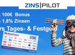 Zinspilot: Gutschein und Bonus von bis zu 135 Euro zum Tagesgeld