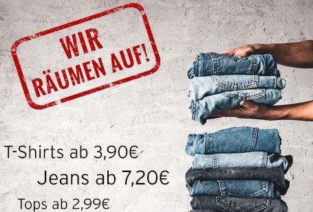 """Jeans Direct: """"Ausverkauf"""" mit Jeans ab 7,20 Euro und Shirts ab 3,90 Euro"""