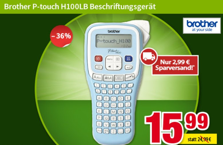 Völkner: Beschriftungsgerät Brother P-touch H100LB für 18,58 Euro