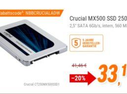 NBB: Crucial-SSD mit 256 GByte und 5 Jahren Garantie für 33,11 Euro