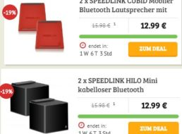 Dealclub: Doppelpack Bluetooth-Lautsprecher ab 12,99 Euro frei Haus