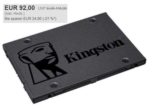 Ebay: Kingston-SSD mit 960 GByte für 92 Euro frei Haus