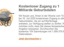 Gratis: Zugang auf eine Millarde Geburtsdaten bei Myheritage